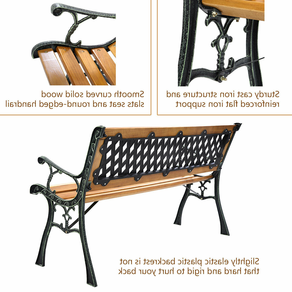 "Most Up To Date Iron Grove Slatted Glider Benches Inside 49 1/2"" Patio Park Garden Bench Porch Path Chair Outdoor Deck Cast Iron Hardwood (View 19 of 30)"