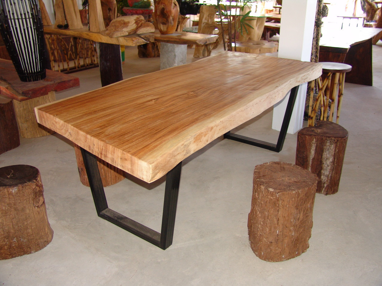 Most Up To Date Live Edge Dining Table Golden Acacia Wood Reclaimed Single Slab (View 24 of 30)