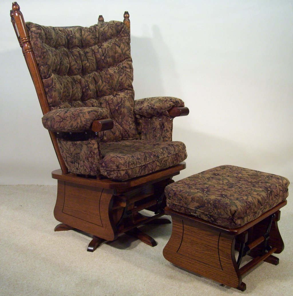 Most Up To Date New Oak Glider Rocking Chair Foter Newport Bow Back Solid For Cushioned Glider Benches With Cushions (Gallery 22 of 30)