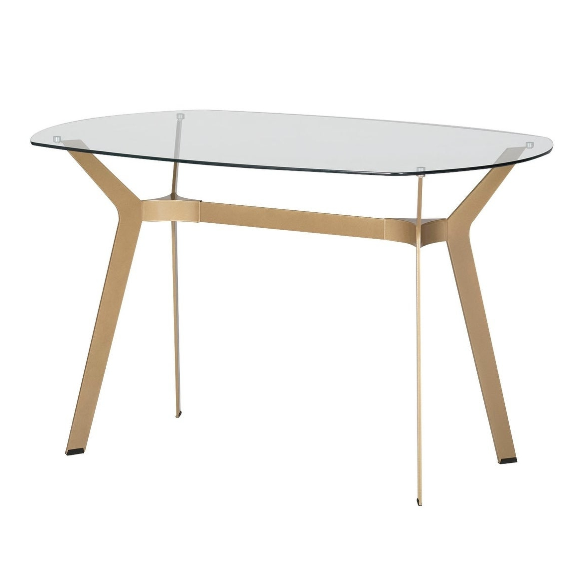 """Most Up To Date Offex Home Archtech 60"""" Modern Dining Table/desk In Gold/clear Glass For Modern Gold Dining Tables With Clear Glass (Gallery 3 of 30)"""