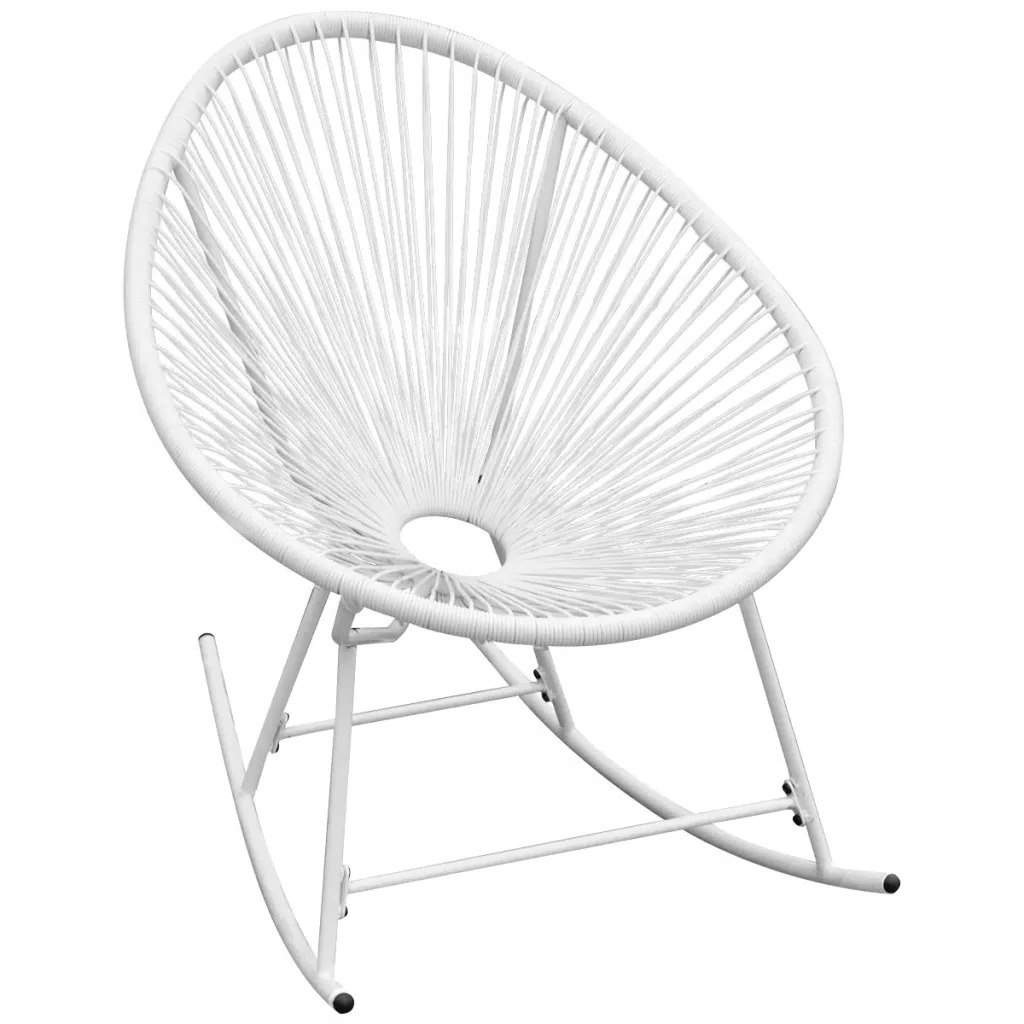 Most Up To Date Outdoor Swing Glider Chairs With Powder Coated Steel Frame Throughout Vidaxl Garden Rocking Chair Poly Rattan White 42074 Pe (Gallery 23 of 30)