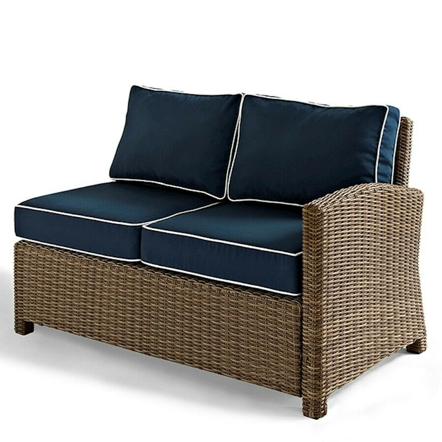 Most Up To Date Padded Sling Loveseats With Cushions Intended For Crosley Biltmore Outdoor Wicker Sectional Left Corner Loveseat (Gallery 22 of 30)