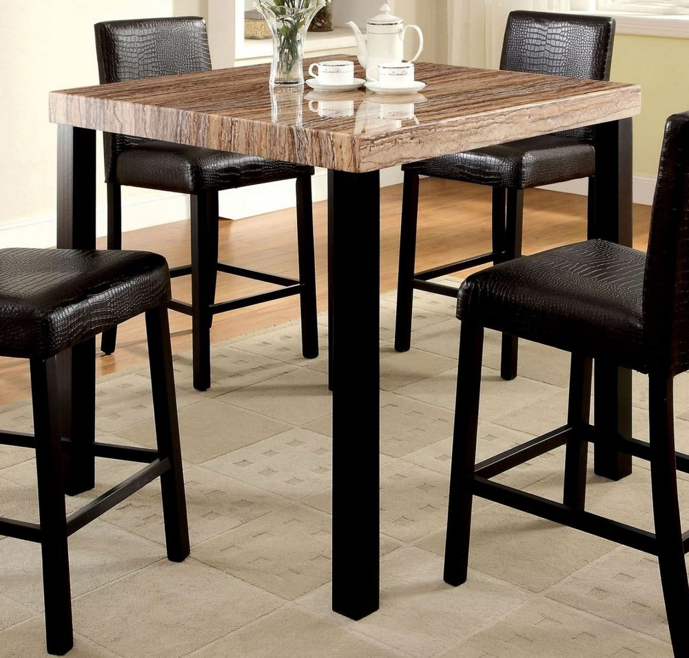 Most Up To Date Rockham Ii Counter Height Table Faux Marble Top Black Finish Intended For Faux Marble Finish Metal Contemporary Dining Tables (View 19 of 30)
