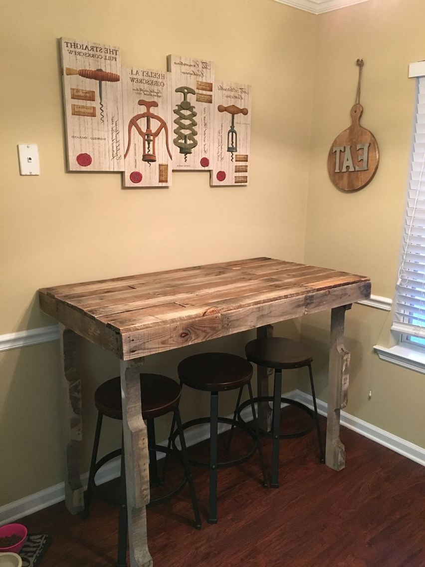 Most Up To Date Small Rustic Look Dining Tables Within Kitchen Bar Height Table For The Rustic Farmhouse Style (View 6 of 30)