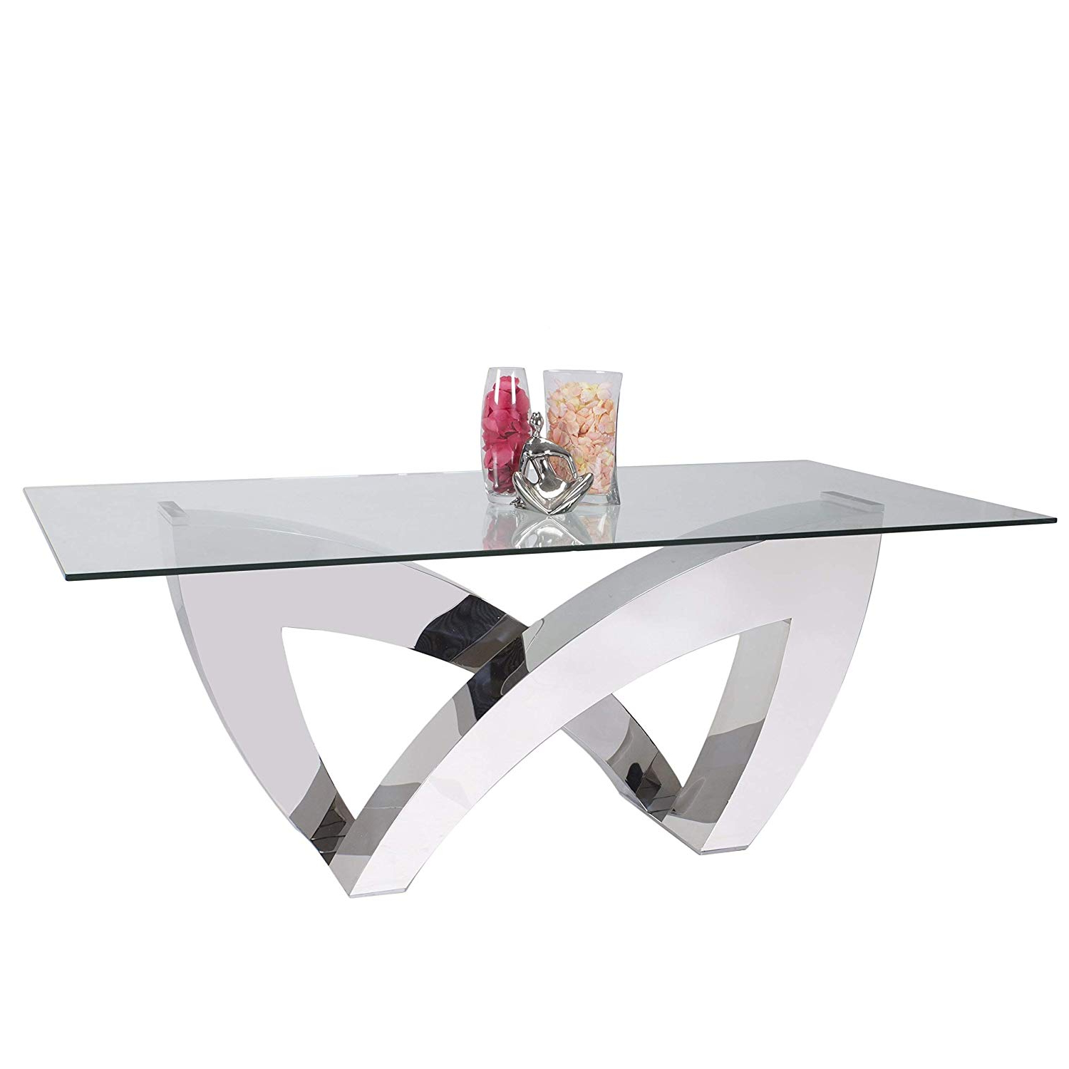 Most Up To Date Steel And Glass Rectangle Dining Tables Pertaining To Amazon – Somette Allison Clear Glass/stainless Steel (Gallery 12 of 30)