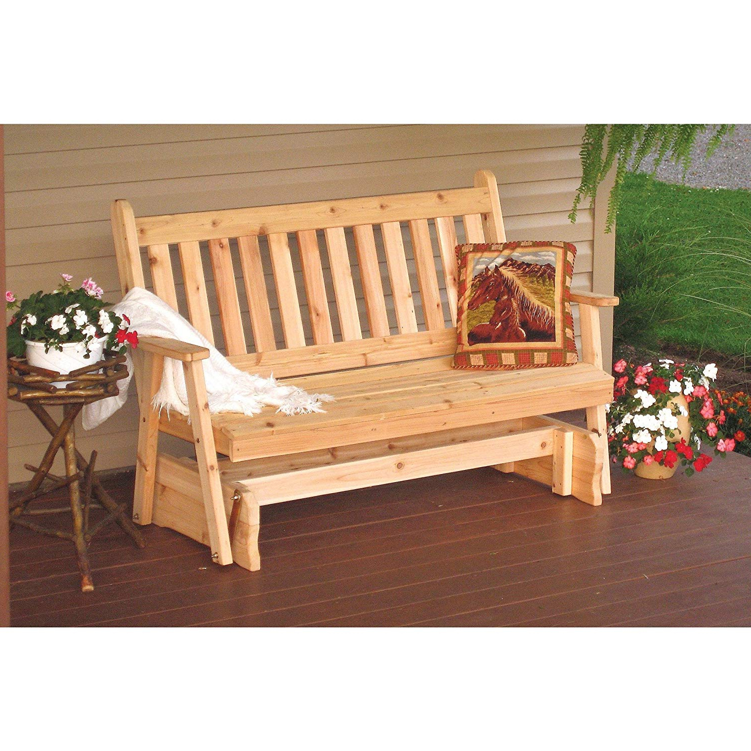 Most Up To Date Traditional English Glider Benches Pertaining To Amazon : A & L Furniture Co. Western Red Cedar 6 (Gallery 14 of 34)