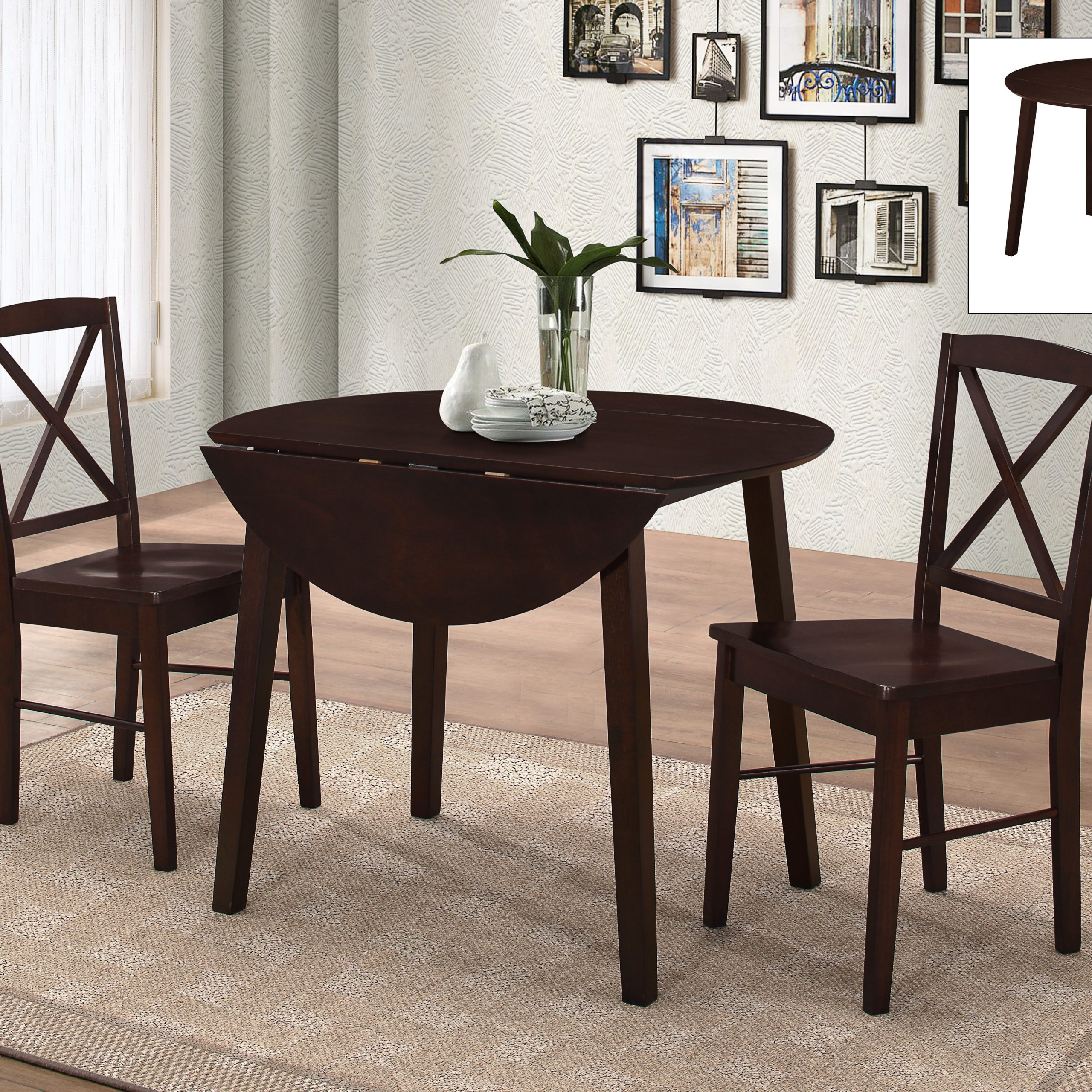 Most Up To Date Transitional 3 Piece Drop Leaf Casual Dining Tables Set Pertaining To Gaines 3 Piece Kitchen Dining Set, Cappuccino Wood,  (View 14 of 30)