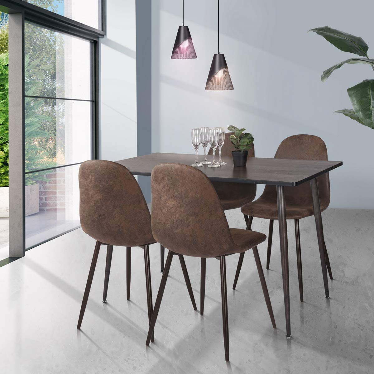 Most Up To Date Wood Top Dining Tables Regarding Homy Casa Farmhouse Rectangle Dining Table, Mid Century Wooden Top Kitchen Dining Table With Metal Tube For Home, Office, Patio(only Table Not Include (Gallery 25 of 30)
