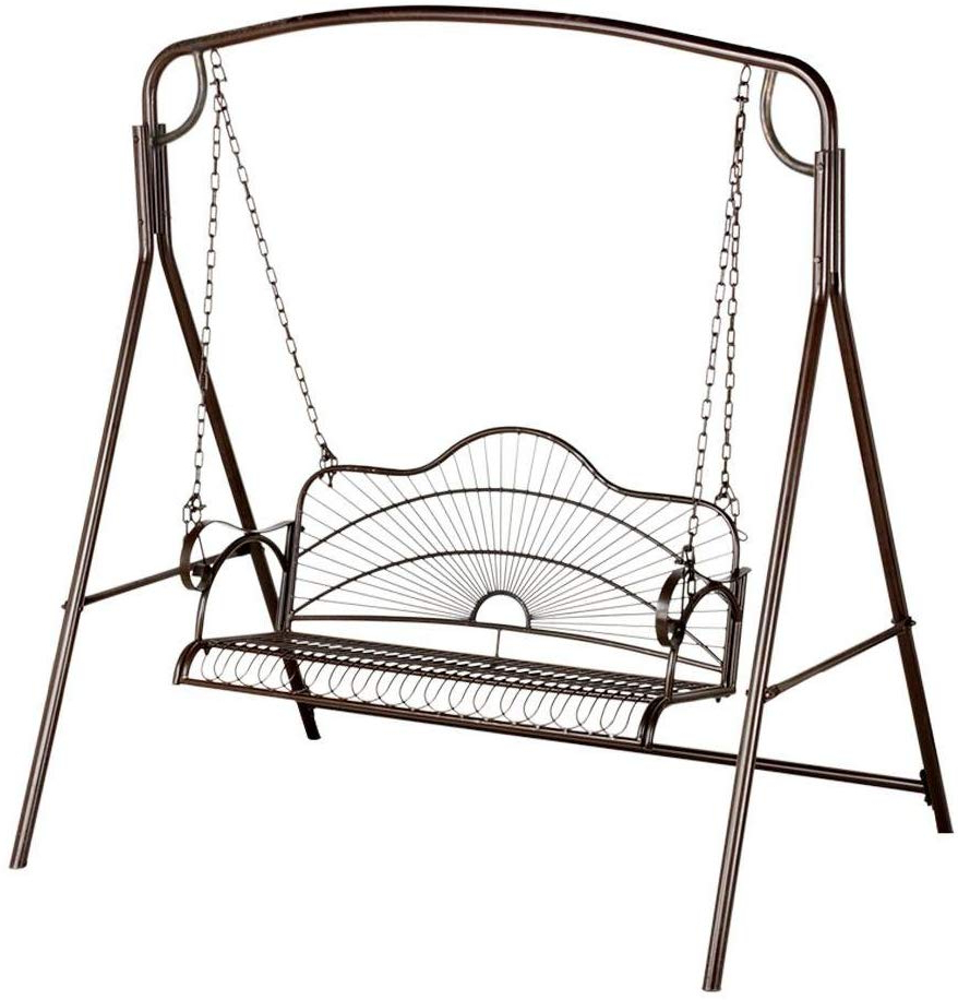 Most Up To Date Yaheetech Outdoor Metal Hanging Patio Porch Swing Bench Hanging Chair And  Lawn Metal Bench Swing Chair Frame Antique Style Intended For 2 Person Antique Black Iron Outdoor Swings (Gallery 11 of 30)
