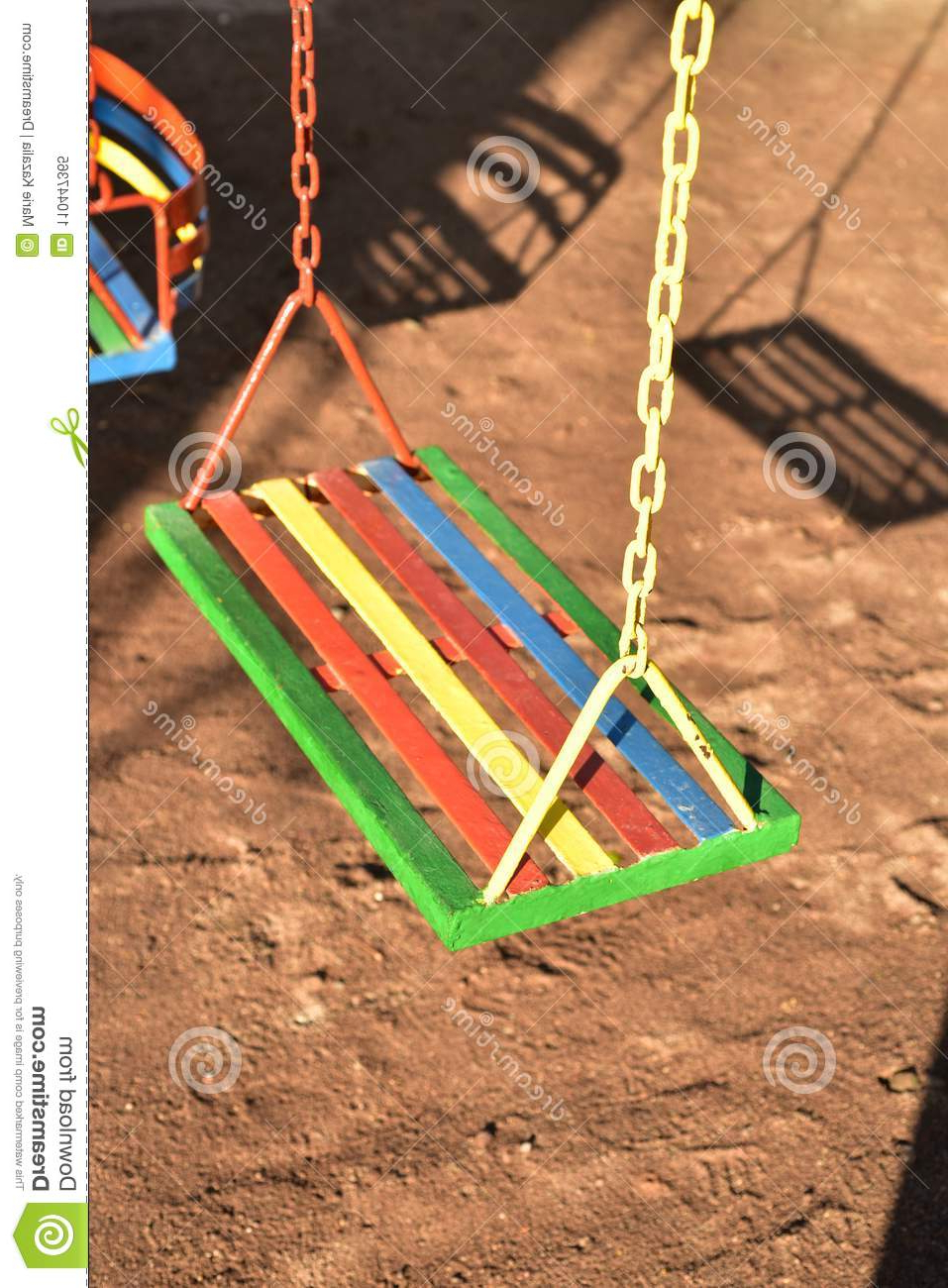 Multi Color Painted Swing For Child On Playground Stock Pertaining To Latest Swing Seats With Chains (View 14 of 30)