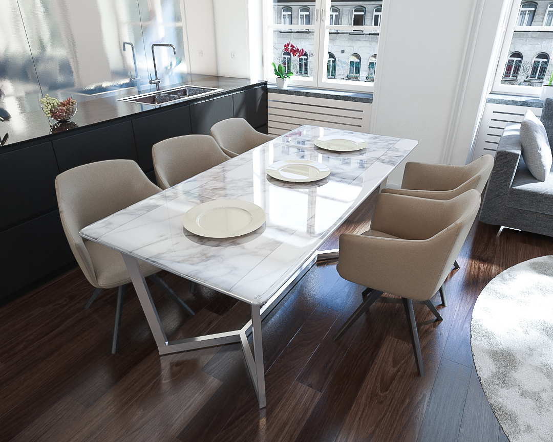 Napoli Marble Top Dining Table With Widely Used Wood Top Dining Tables (View 3 of 30)