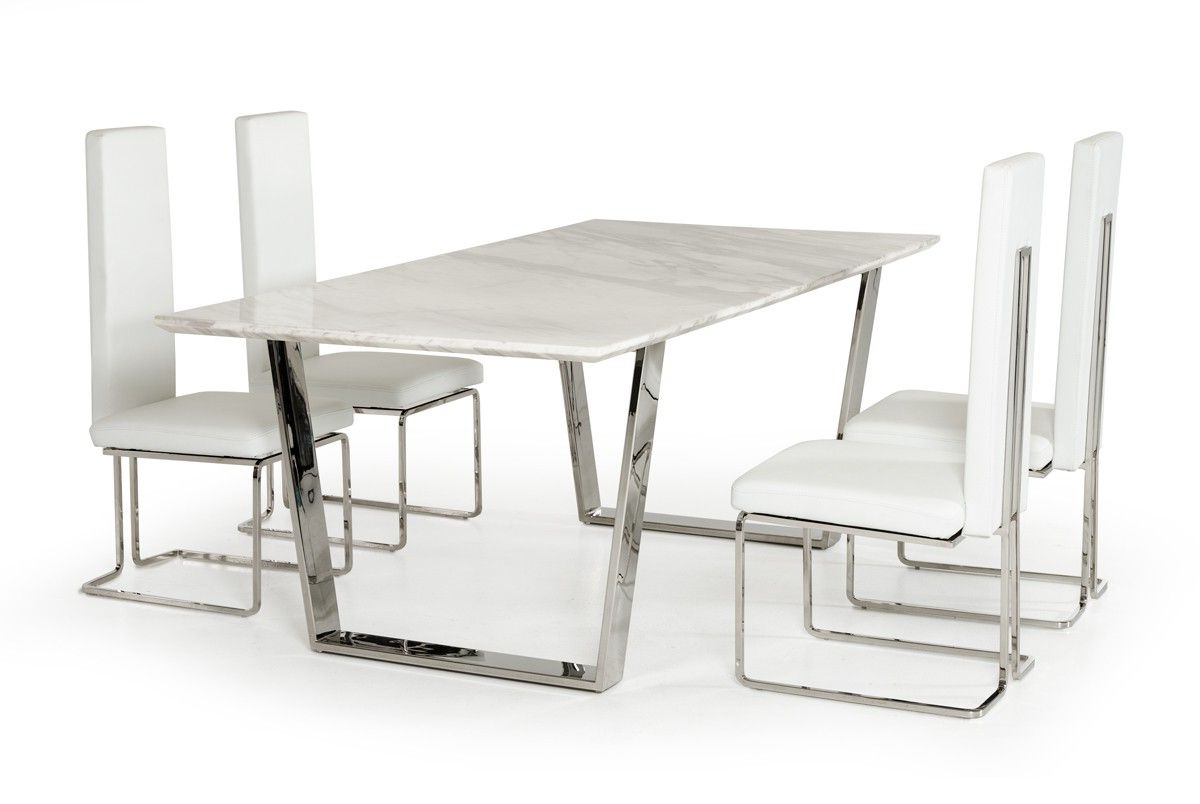 Natural White Marble Top And Chrome Legs Dining Table For Popular Dining Tables With White Marble Top (View 27 of 30)