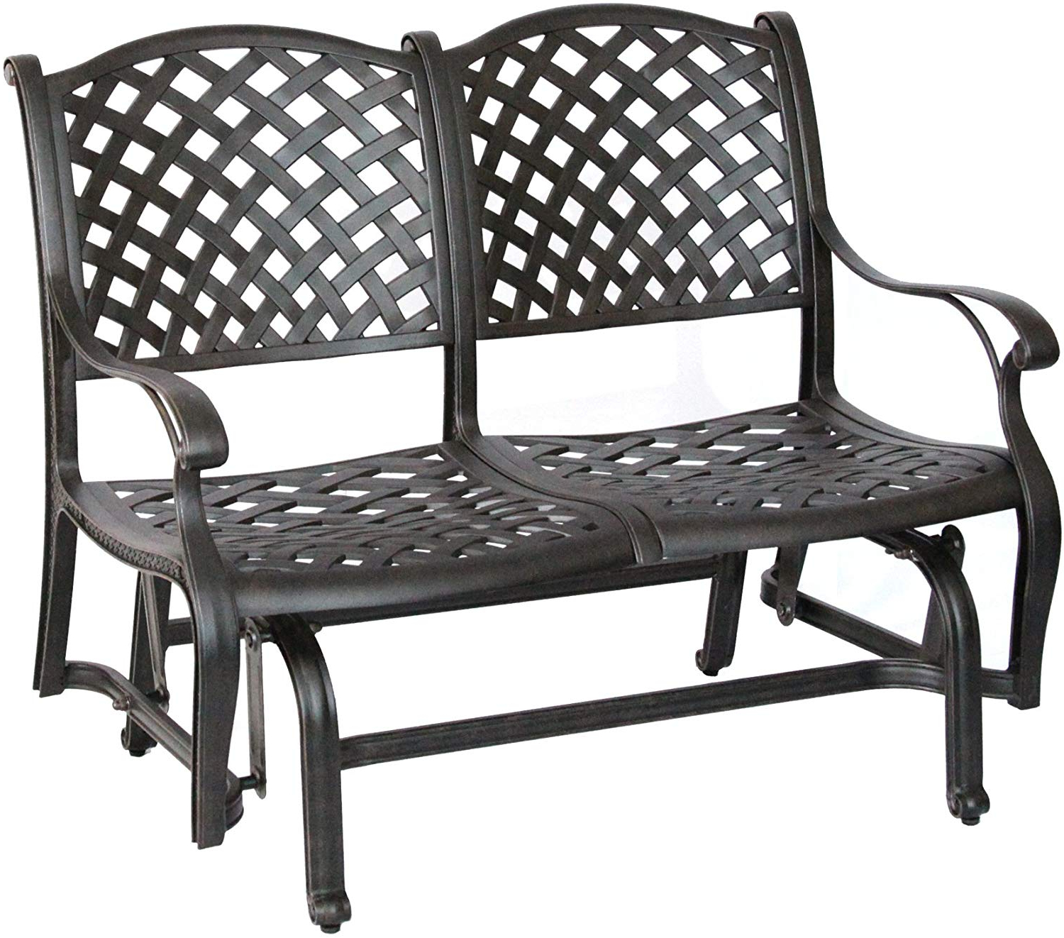 Newest 1 Person Antique Black Steel Outdoor Gliders Pertaining To Darlee Nassau Cast Aluminum Bench Glider With Seat Cushion, Antique Bronze Finish (View 16 of 30)