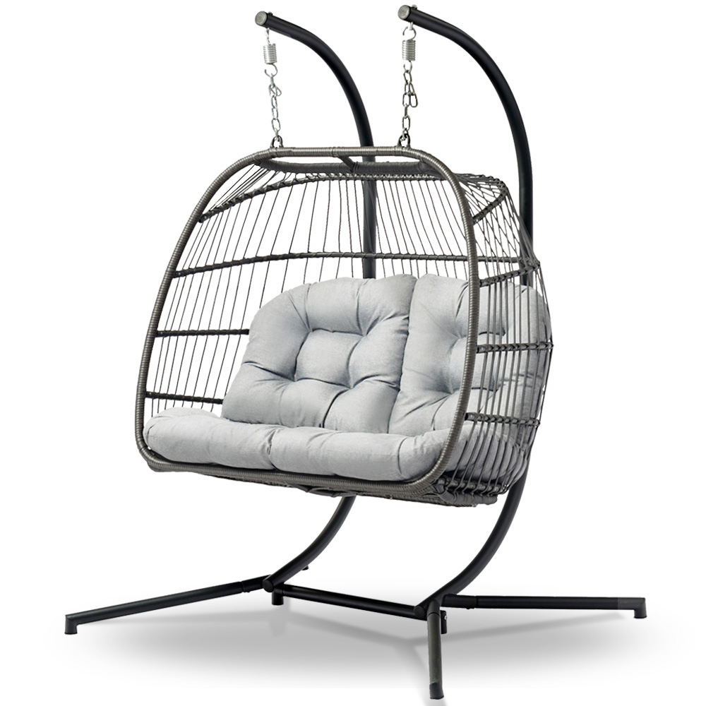 Newest 2 Person Black Steel Outdoor Swings Intended For Gardeon Outdoor Furniture Hanging Swing Chair Egg Hammock Pod Wicker 2  Person Grey (Gallery 25 of 30)