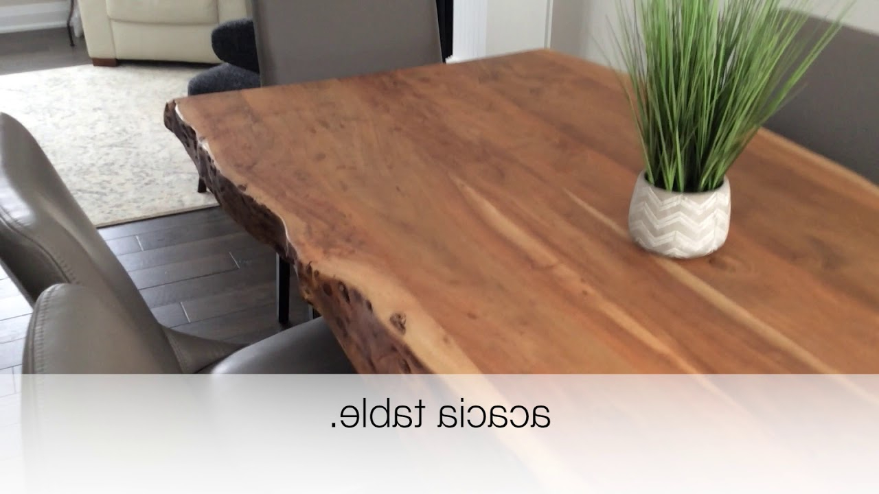 Newest Acacia Live Edge Dining Table With Black X Shaped Legs/natural Color Review For Acacia Dining Tables With Black Legs (View 8 of 30)