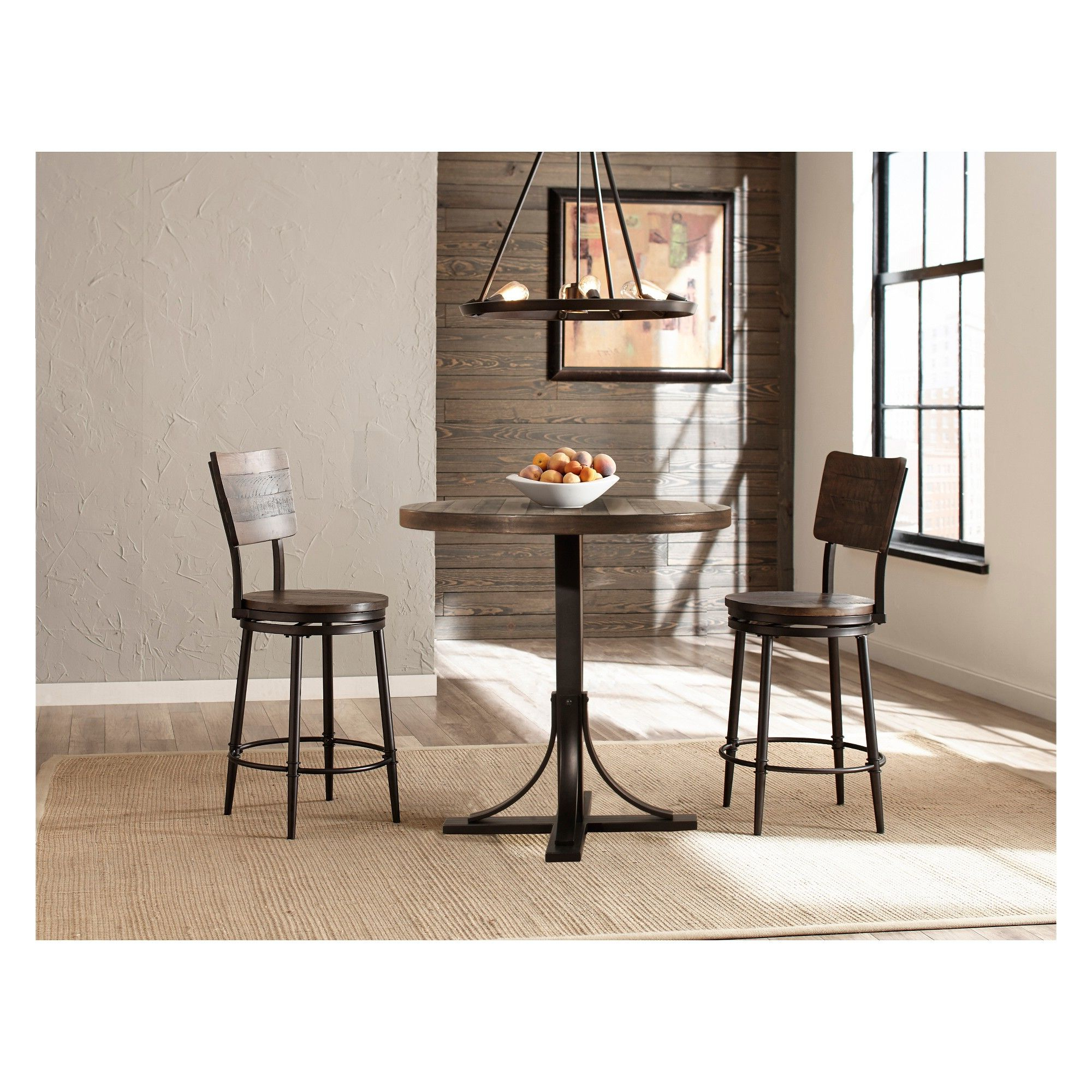 Newest Acacia Wood Medley Medium Dining Tables With Metal Base In Jennings 3Pc Counter Height Dining Set With Swivel Counter (Gallery 9 of 30)