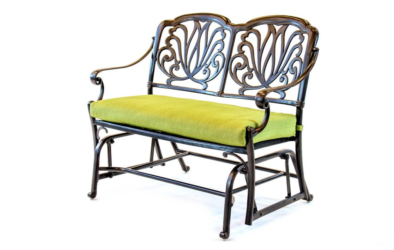 Newest Aluminum Glider Benches With Cushion Within Hanamint – Biscayne – Aluminum – Glider Cushion Bench (View 23 of 30)