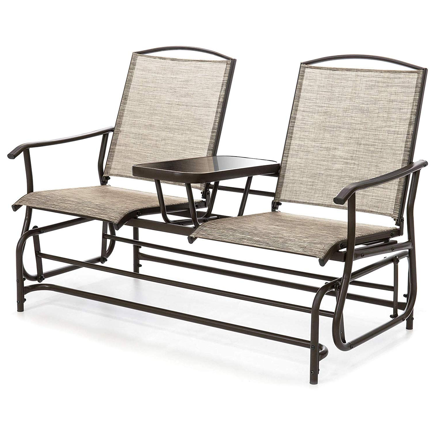 Newest Amazon : 2 Person Outdoor Mesh Fabric Patio Double Intended For Outdoor Fabric Glider Benches (View 6 of 30)