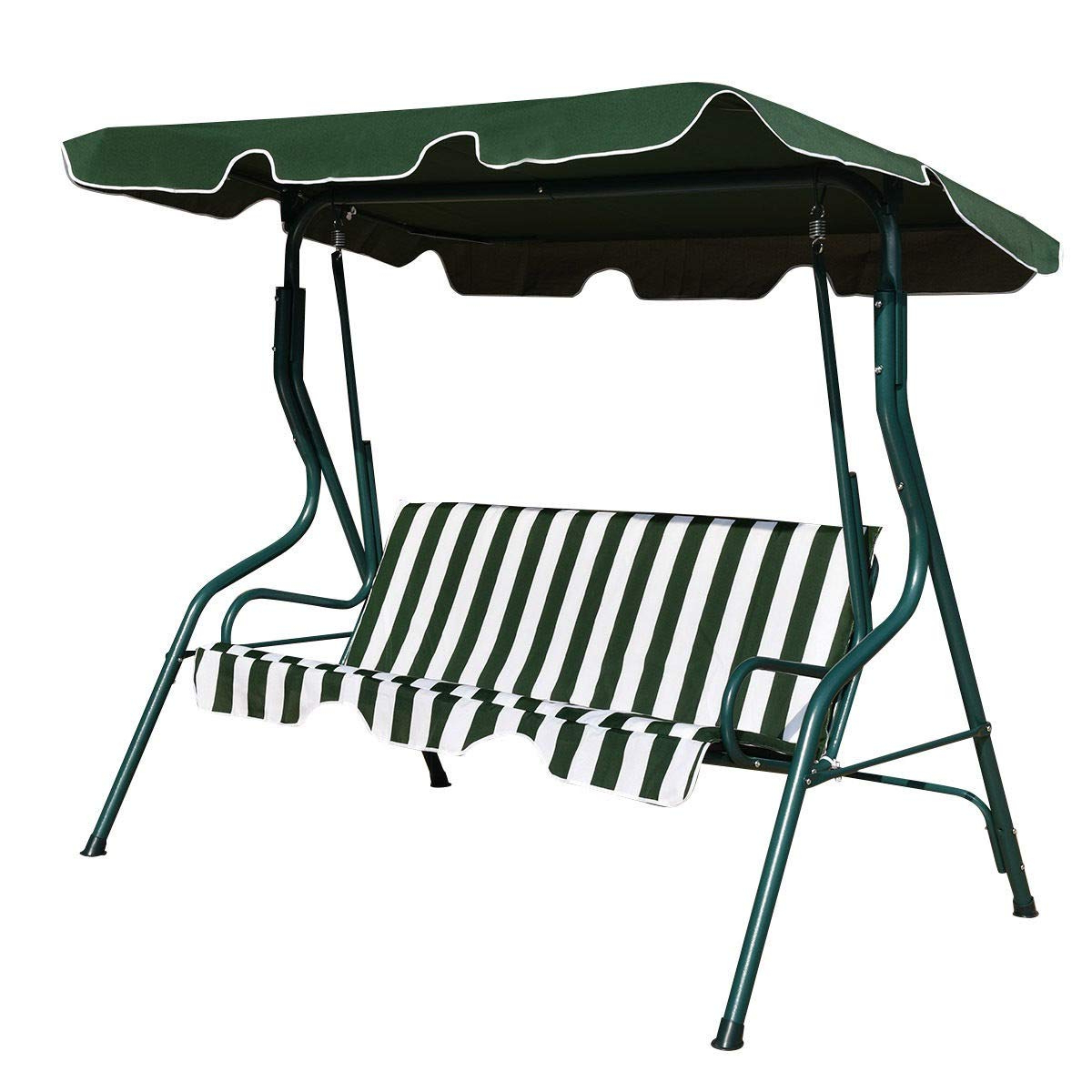 Newest Amazon : Lucidz 3 Seater Swing Chair Cover Cushioned Pertaining To 3 Seats Patio Canopy Swing Gliders Hammock Cushioned Steel Frame (Gallery 13 of 30)