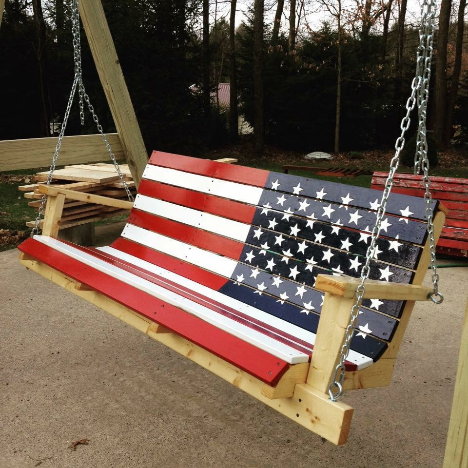 Newest American Flag Porch Swings With Flag & Custom Swings – Davis Porch Swings (View 24 of 30)