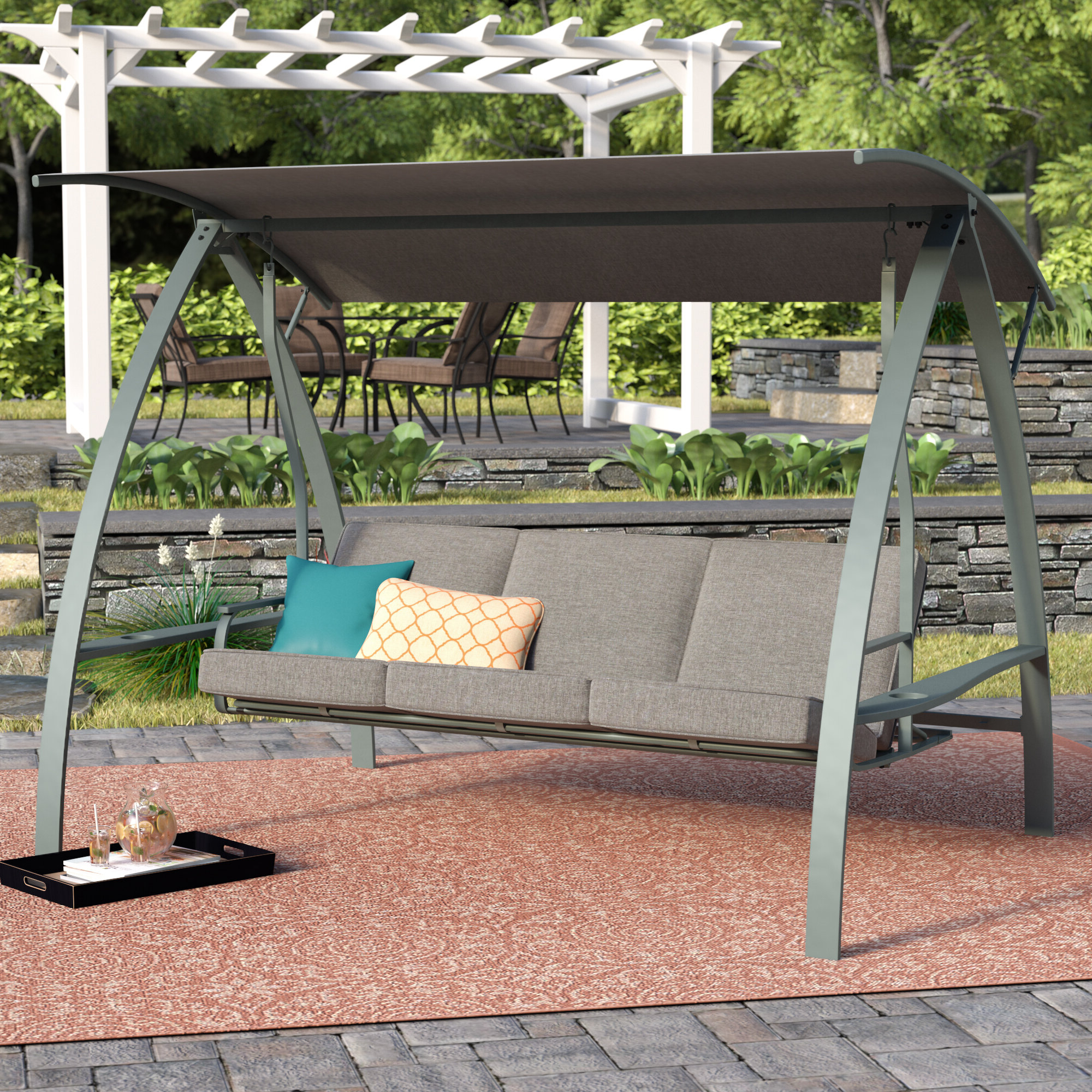 Newest Andover Mills Marquette 3 Seat Daybed Porch Swing With Stand Intended For 3 Seat Pergola Swings (View 13 of 30)