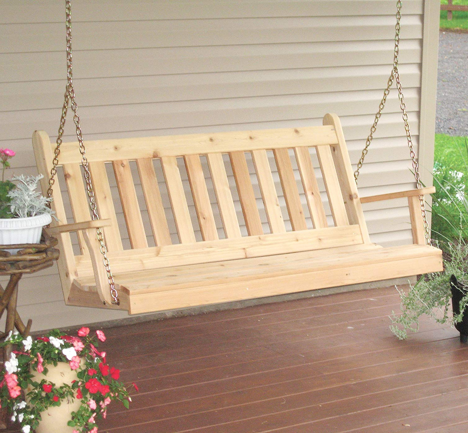 Newest Aspen Tree Interiors Cedar Porch Swing, Amish Outdoor Hanging Porch Swings, Patio Wooden 2 Person Seat Swinging Bench, Weather Resistant Western Red In Patio Hanging Porch Swings (View 8 of 30)