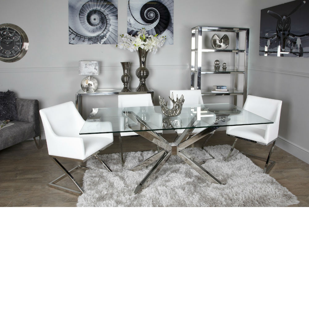 Newest Avery Glass Chrome Dining Table Within Chrome Dining Tables With Tempered Glass (View 25 of 30)