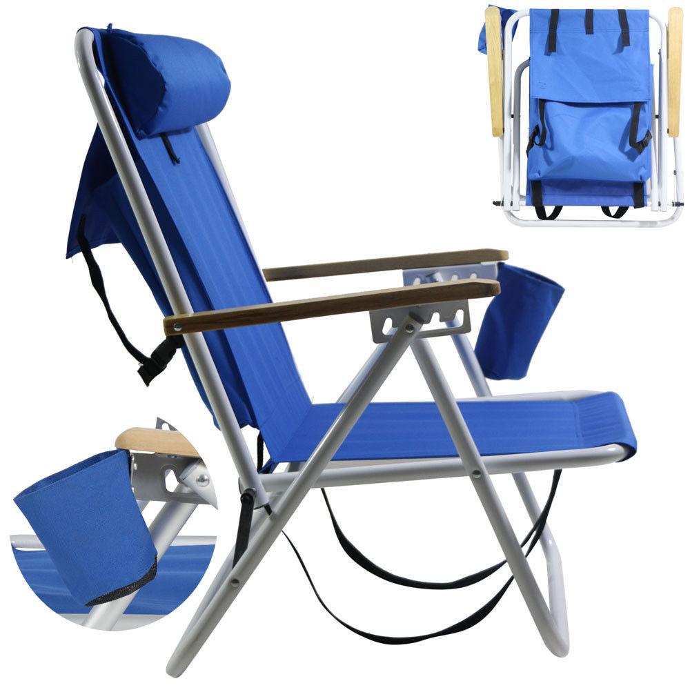 Newest Backpack Fold Beach Chair With Adjustable Padded Headrest & Cup Holder Outdoor Inside Padded Sling Double Gliders (View 29 of 30)
