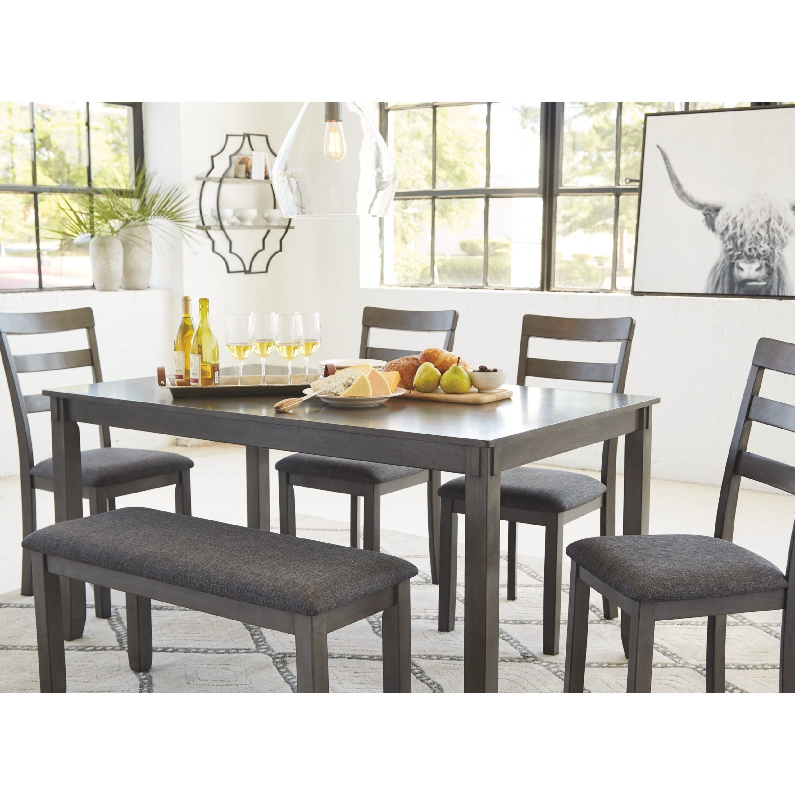 Newest Bridson Rectangular Dining Room Table Set Of 6 – Gray Regarding Charcoal Transitional 6 Seating Rectangular Dining Tables (View 12 of 30)