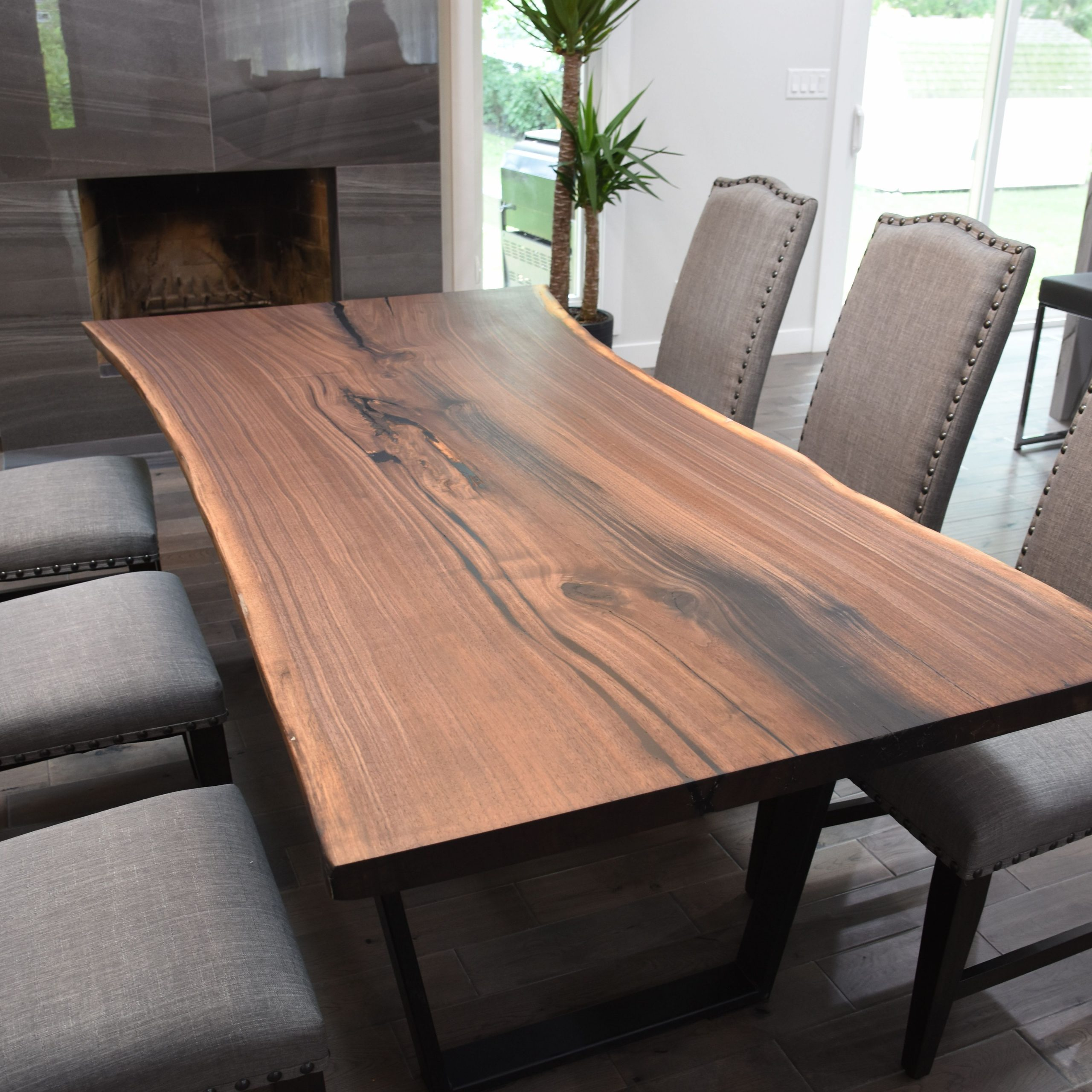 Newest Buy A Custom Single Slab Black Walnut Live Edge Dining Table Throughout Walnut Finish Live Edge Wood Contemporary Dining Tables (View 7 of 30)