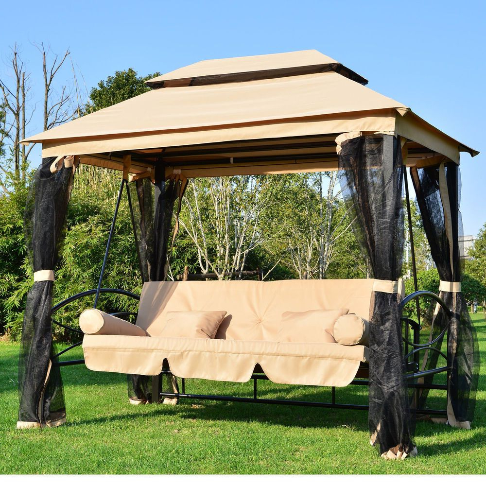 Newest Canopy Patio Porch Swing With Stand Intended For Large Garden Gazebo Swing Seat Bench Hammock Canopy Cushions (Gallery 6 of 30)