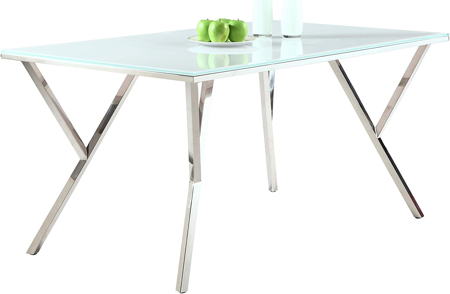 Newest Chrome Dining Tables With Tempered Glass In Amazon – Milan Dt Jaina Super White/chrome Dining Table (Gallery 14 of 30)
