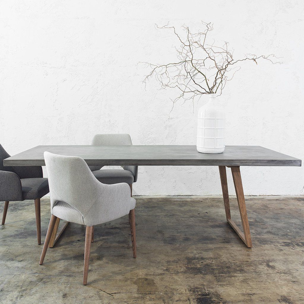 Newest Concrete Dining Table Scandi Teak Leg (View 9 of 30)