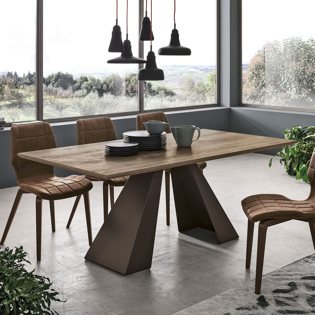 Newest Contemporary Dining Table / Wood Veneer / Brushed Metal Base With Dining Tables With Brushed Stainless Steel Frame (View 12 of 30)