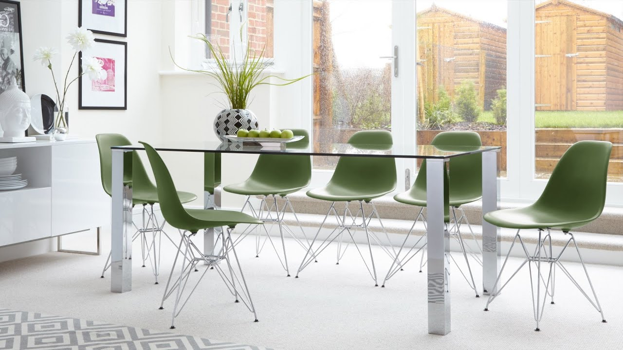 Newest Contemporary Glass 6 Seater Dining Table And Eames Dining Chairs With Metal Legs With Glass Dining Tables With Metal Legs (View 10 of 30)