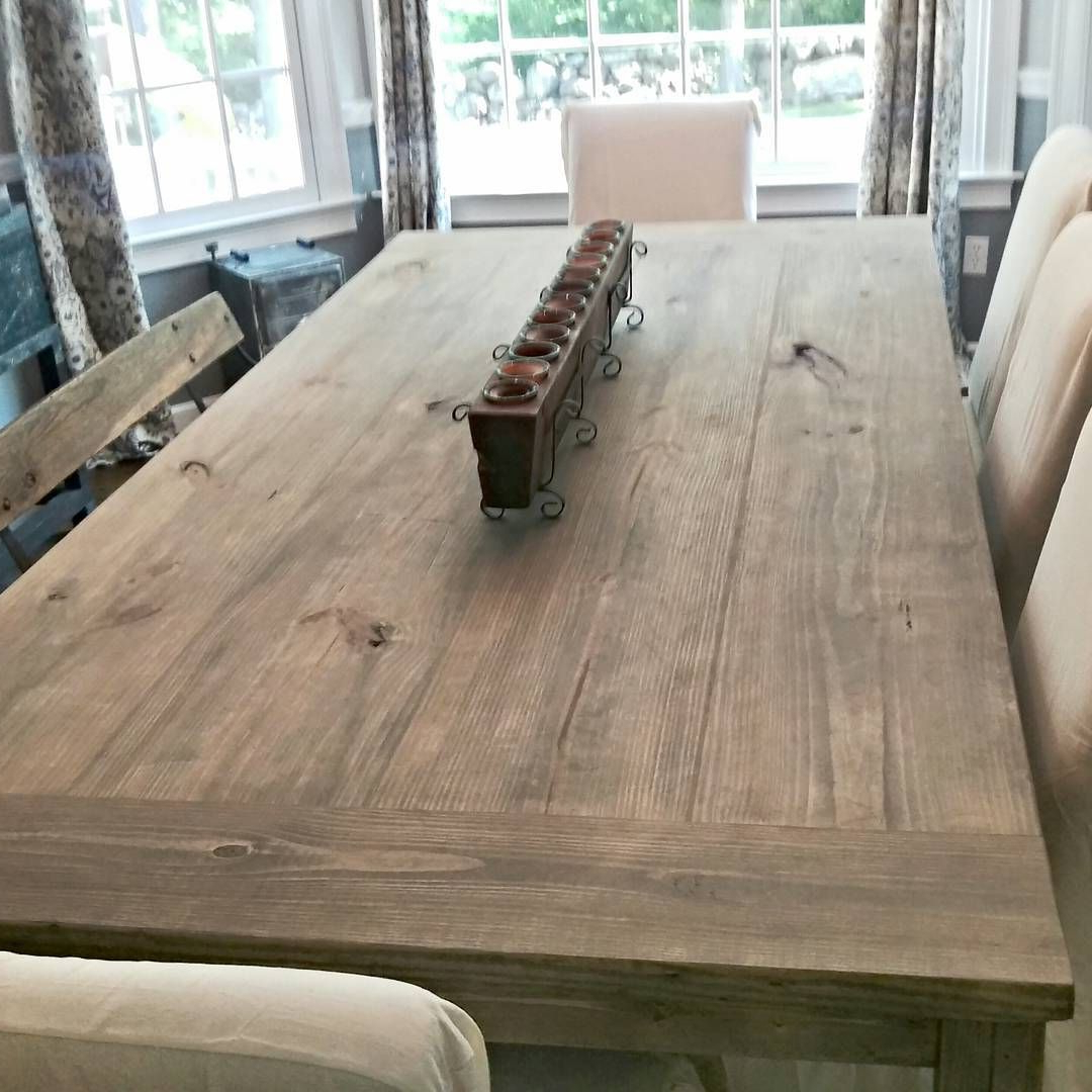 Newest Country Dining Tables With Weathered Pine Finish Within 7Ft Farmhouse Table Stain: Weathered Grey Seal: Matte I Love (Gallery 2 of 30)