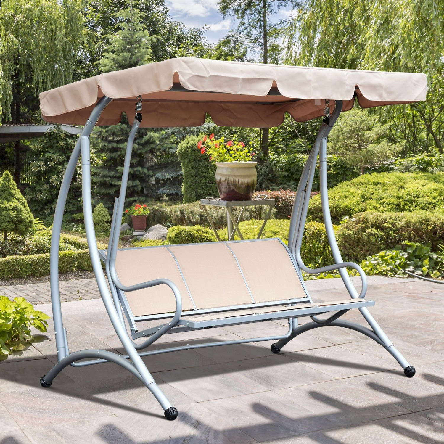 Newest Details About 3 Person Steel Outdoor Patio Porch Swing Chair Inside 2 Person Adjustable Tilt Canopy Patio Loveseat Porch Swings (Gallery 29 of 30)