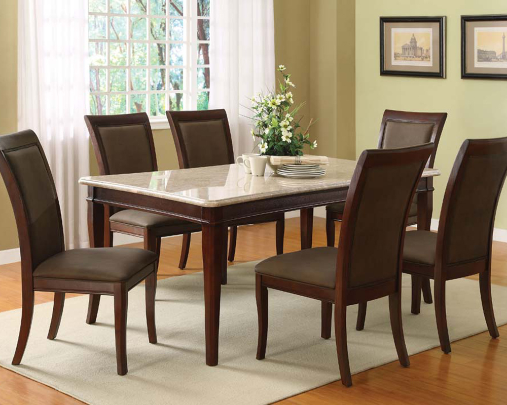 Newest Dining Tables With White Marble Top With Regard To Acme Dining Set W/ White Marble Top Table Britney Ac70060A Set (Gallery 22 of 30)