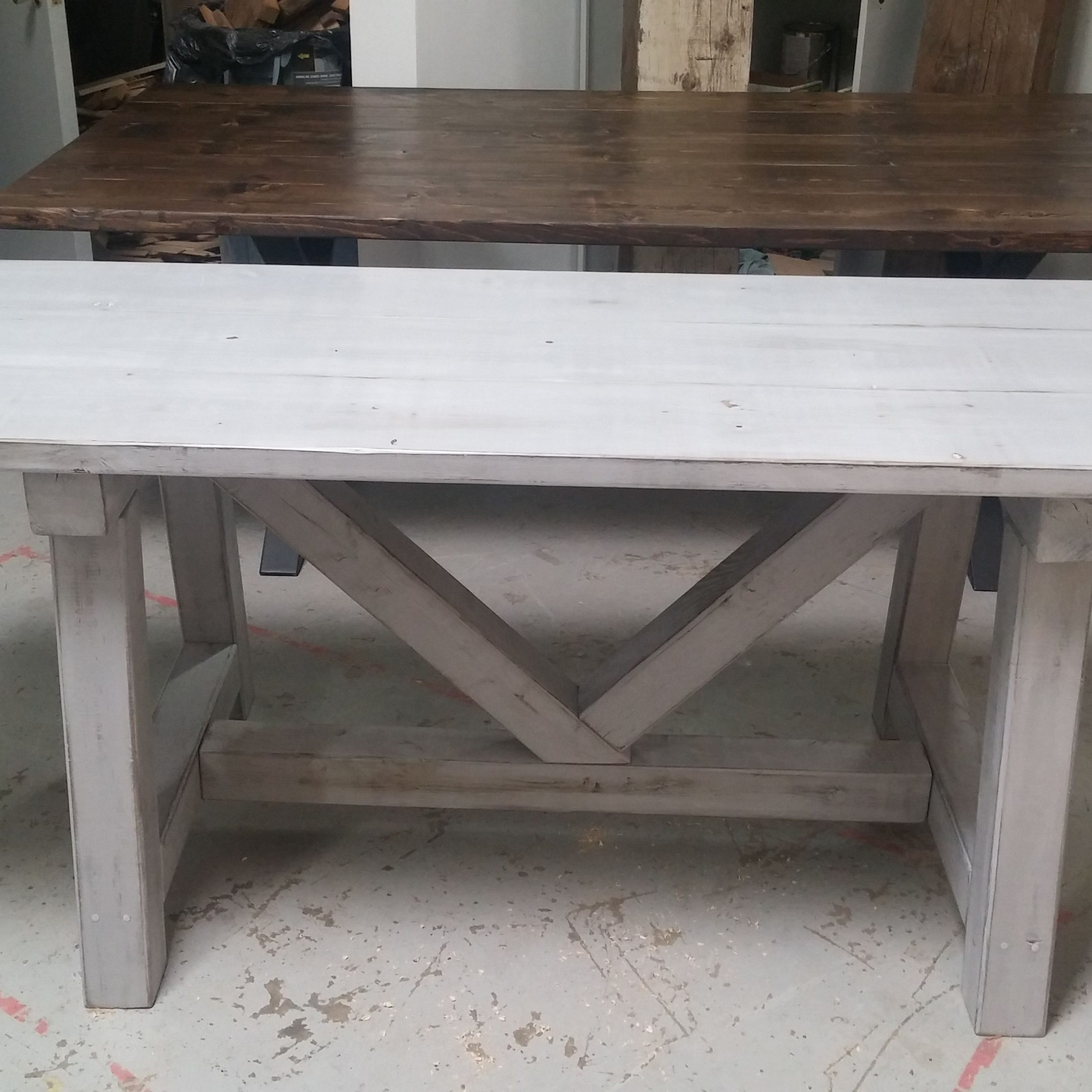 Newest Distressed Grey Finish Wood Classic Design Dining Tables Pertaining To Custom Distressed Grey Trestle Farmhouse Table, Reclaimed (Gallery 1 of 30)