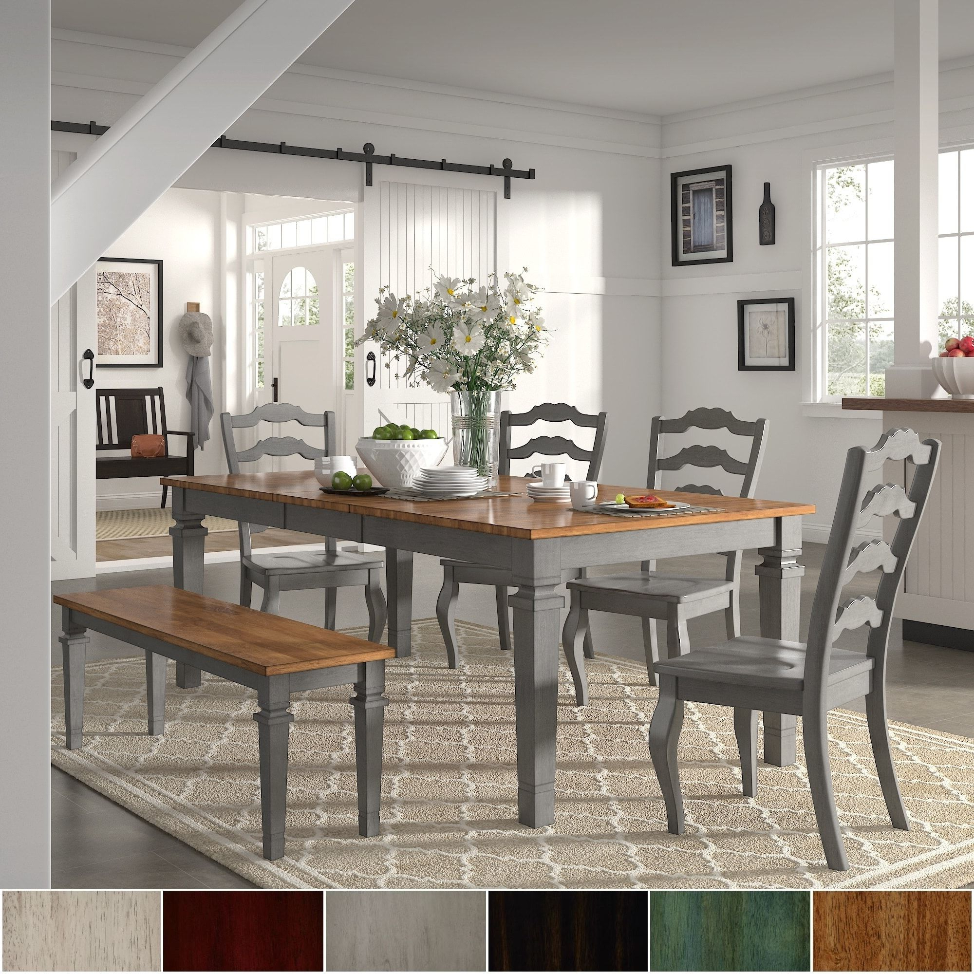 Newest Elena Antique Grey Extendable Rectangular Dining Set Within Atwood Transitional Rectangular Dining Tables (View 20 of 30)