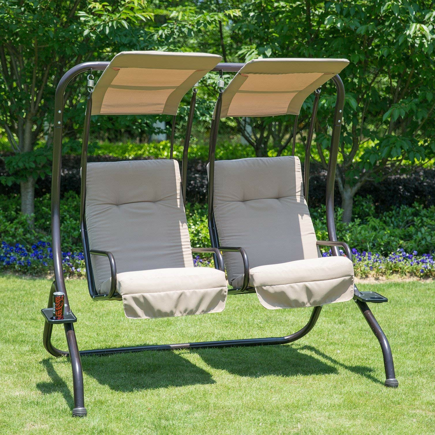 Newest Freeport Park Morrilton Porch Swing With Stand & Reviews With 2 Person Adjustable Tilt Canopy Patio Loveseat Porch Swings (Gallery 18 of 30)