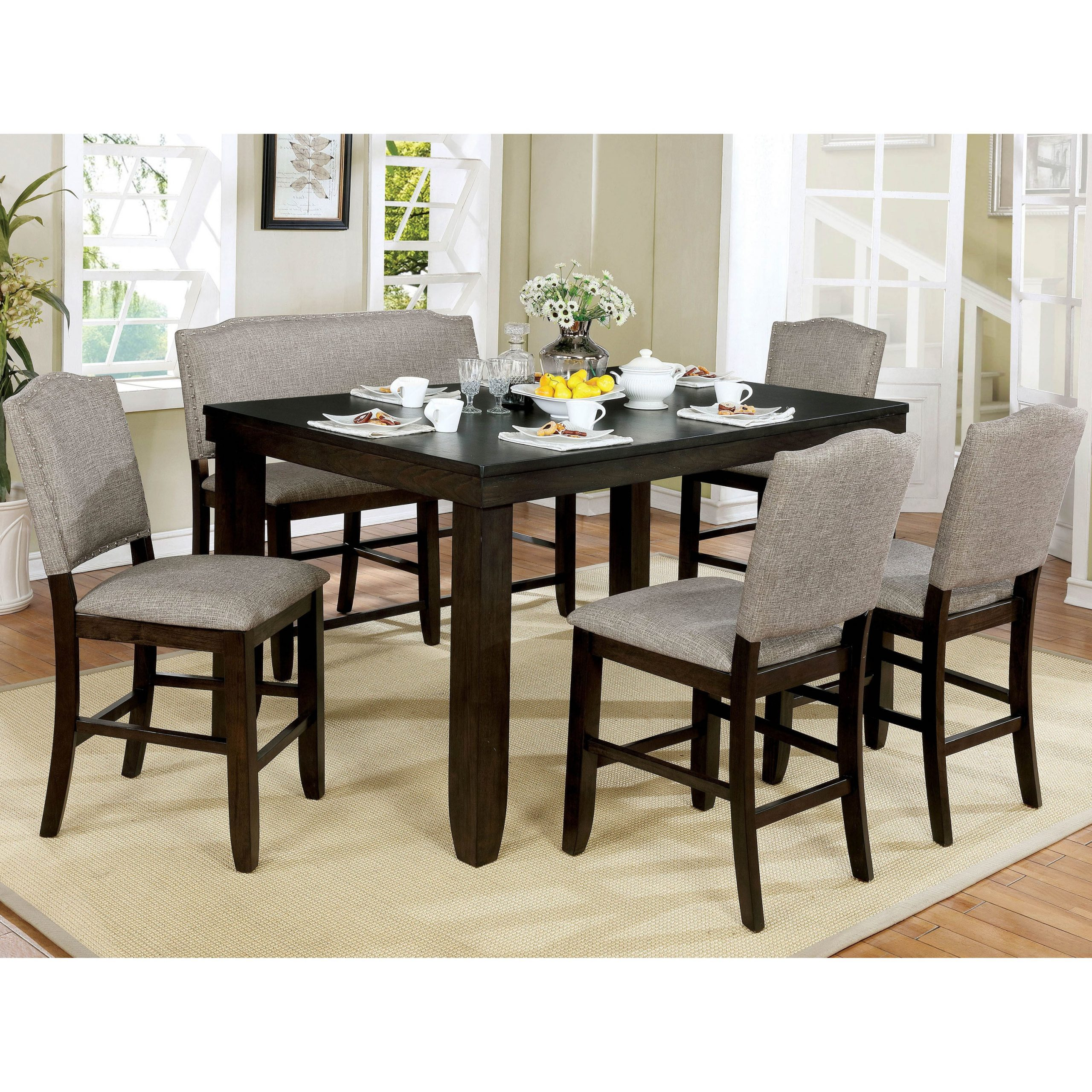 Newest Furniture Of America Davenport Walnut 6 Piece Counter Dining Set Inside Transitional 6 Seating Casual Dining Tables (View 17 of 30)