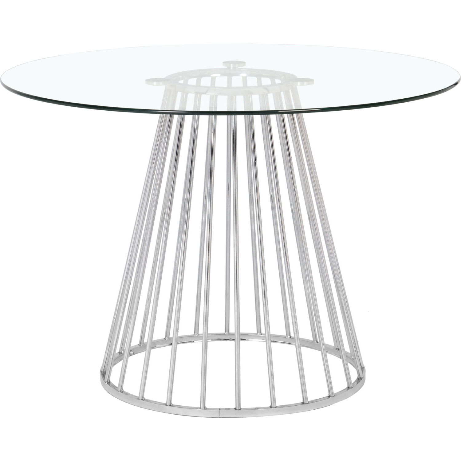 """Newest Gio 48"""" Round Dining Table In Tempered Glass & Chrome Regarding Chrome Dining Tables With Tempered Glass (View 20 of 30)"""
