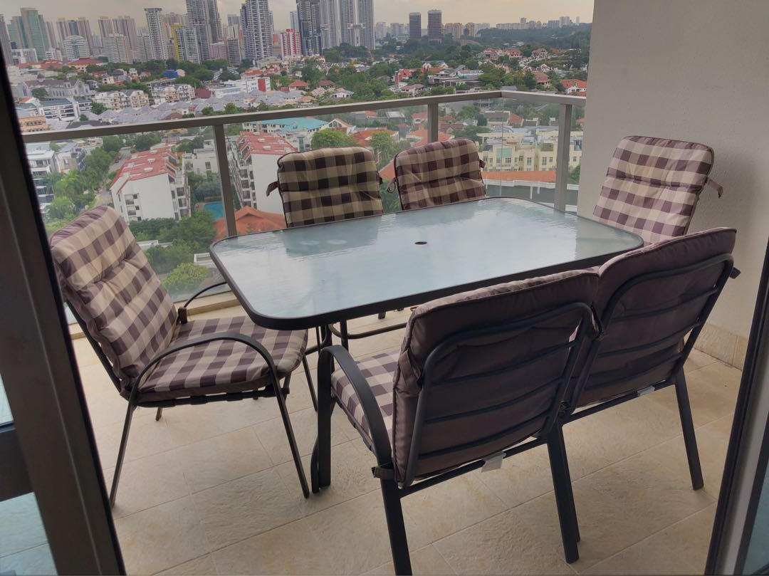 Newest Glass Top Condo Dining Tables Intended For Patio Set For Sale – 6 Armchairs + Glass Top Table On Carousell (View 22 of 30)