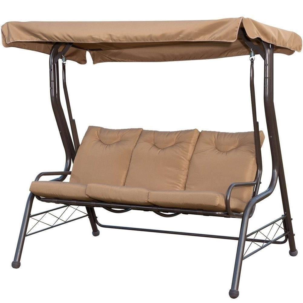 Newest Havenside Home Asilomar Brown 3 Seat Swing Chair Padded Swing Hammock Glider Regarding Outdoor Swing Glider Chairs With Powder Coated Steel Frame (View 13 of 30)