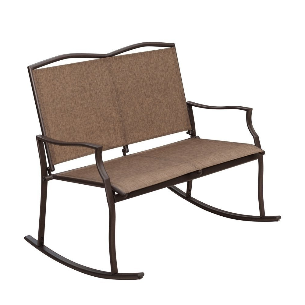 Newest Havenside Home Chetumal Taupe 2 Seat Sling Glider Rocker Chair In Rocking Love Seats Glider Swing Benches With Sturdy Frame (View 16 of 30)
