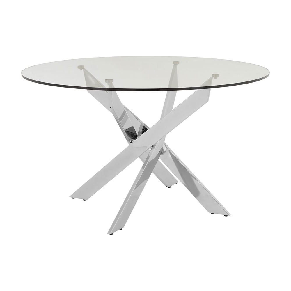 Newest Houseology Collection Alexa Round Dining Table Metal Legs With Glass Dining Tables With Metal Legs (Gallery 18 of 30)