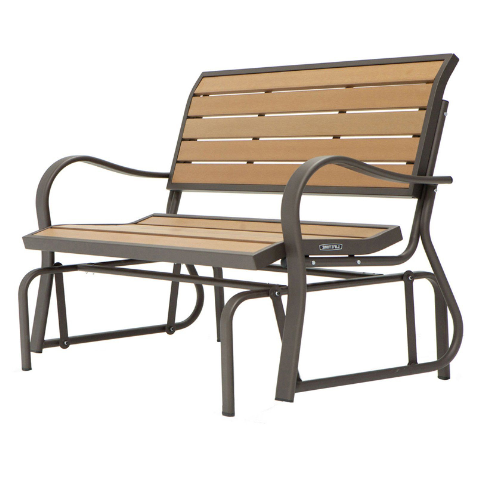 Newest Lifetime Products Wood Grain Outdoor Glider Loveseat Pertaining To Twin Seat Glider Benches (Gallery 25 of 31)