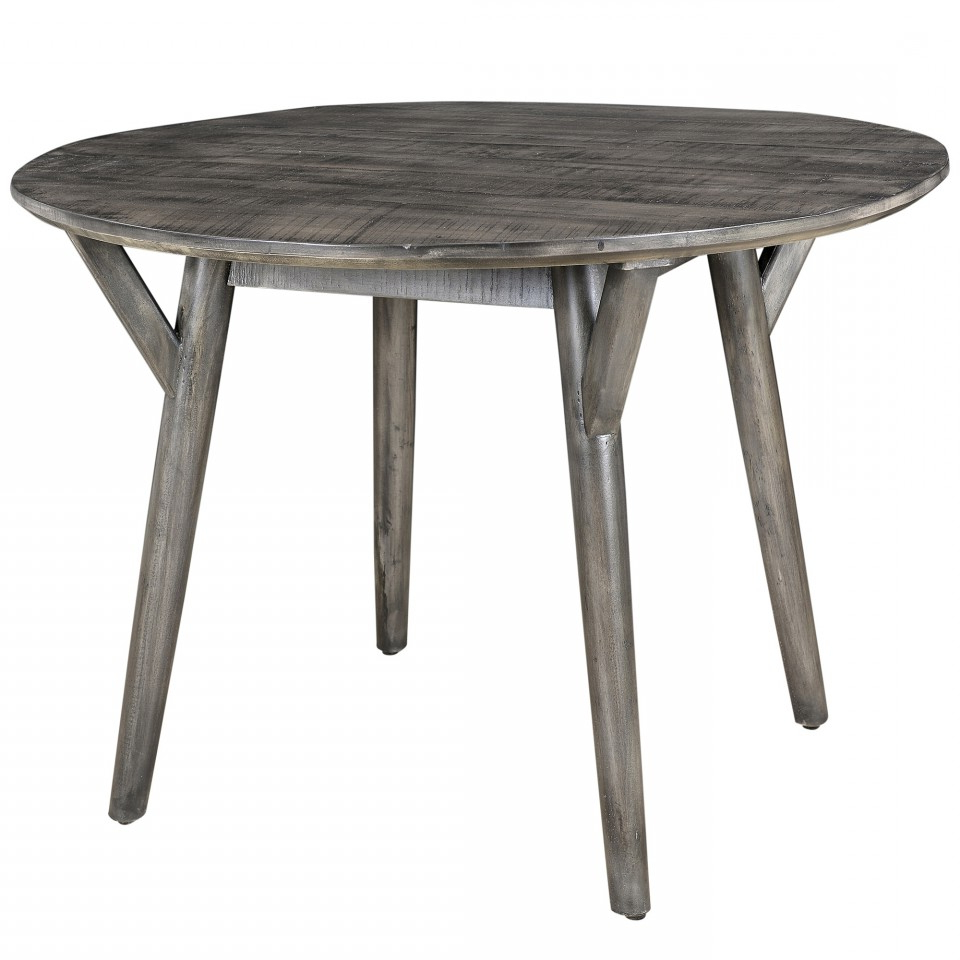 Newest Mira Round Dining Table In Distressed Grey Pertaining To Distressed Grey Finish Wood Classic Design Dining Tables (Gallery 4 of 30)