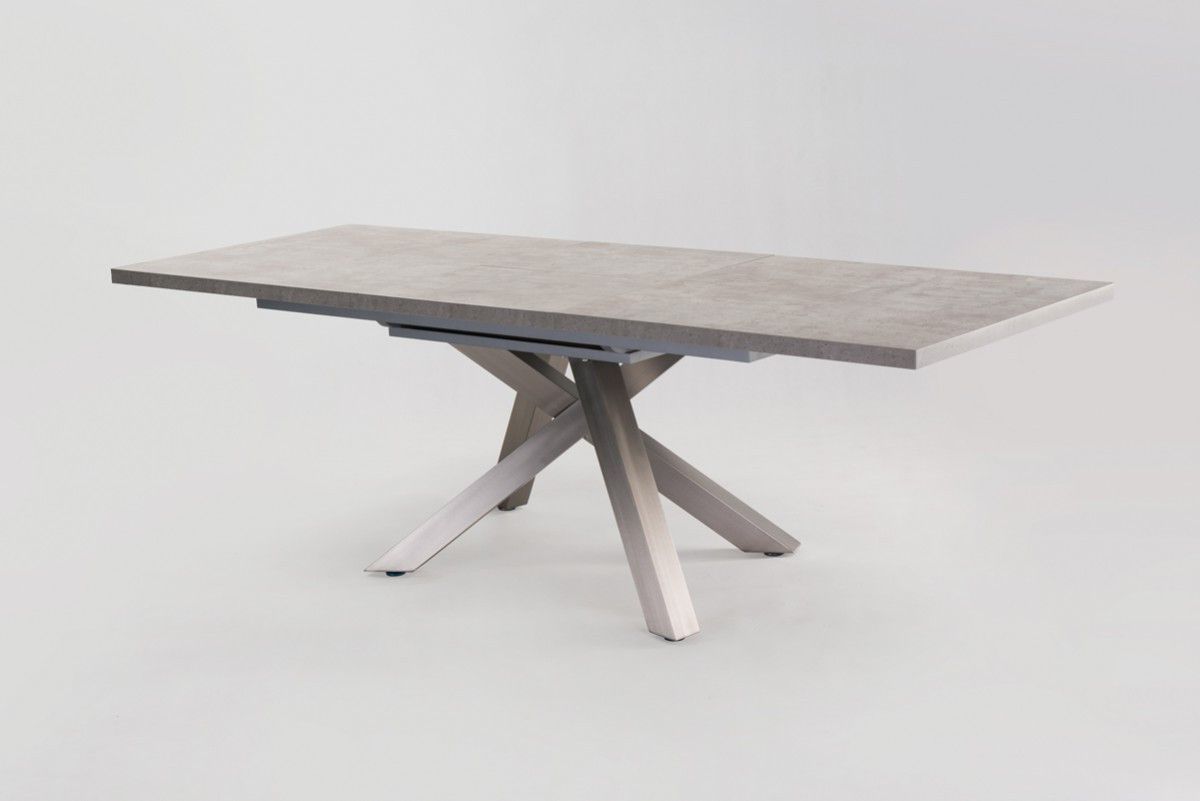 Newest Modrest Orson Contemporary Concrete Extendable Dining Table Pertaining To Modern Glass Top Extension Dining Tables In Matte Black (View 22 of 30)